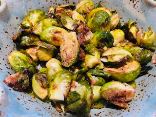 Balsamic Rhubarb Roasted Brussel Sprouts