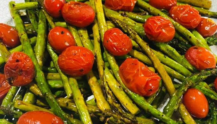 Balsamic Roasted Asparagus and Grape Tomatoes