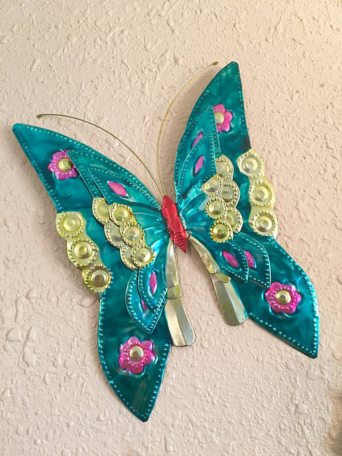 Large Vibrant Colorful Metal Butterfly Inside/Outside Wall Decor