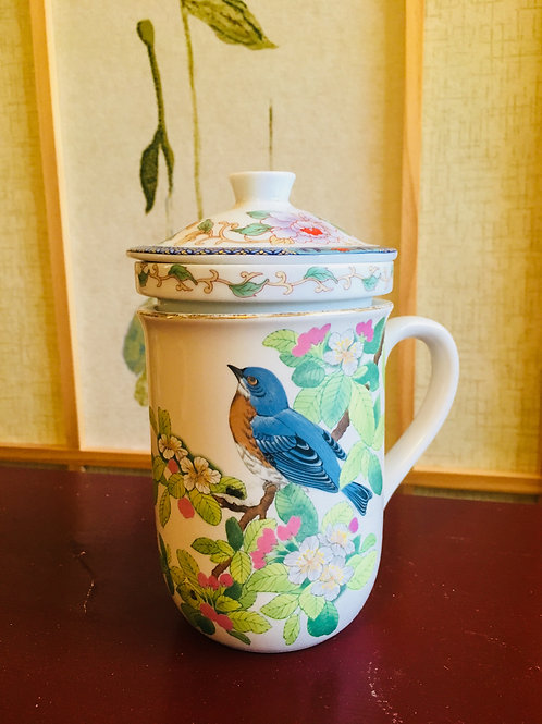 Ceramic Hand Painted Japanese Tea Cup With Infuser