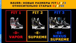 Размеры коньков Bauer: полнота Fit1 Fit2 Fit3