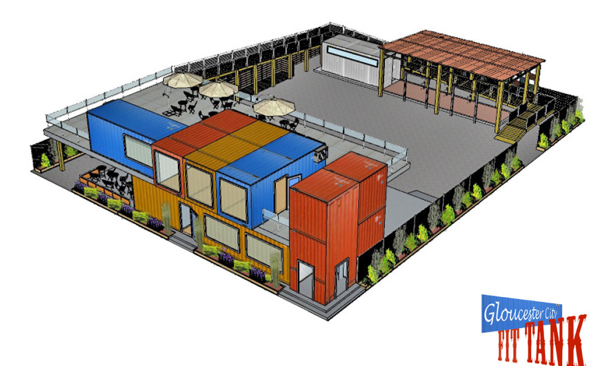"Proposed infill Fitness ""Co-Working"" Facility utilizing shipping containers with retail opportunities. (Fall, 2018)"