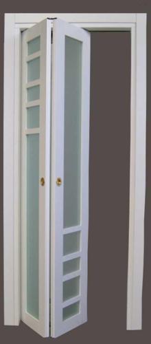 Porta simmetrica con vetri satinati telaietti a disegno