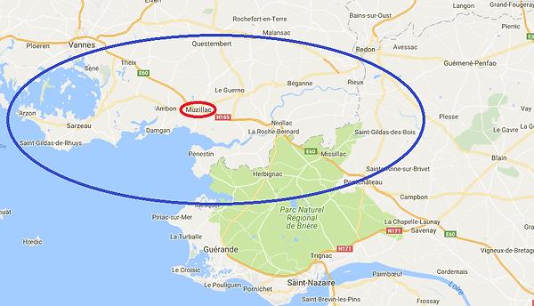 Arzon - Sarzeau - Surzur - Ambon - Damgan - Le Guerno - Questembert - Nivillac - La Roche Bernard - Penestin - Camoel - ferel - Herbignac