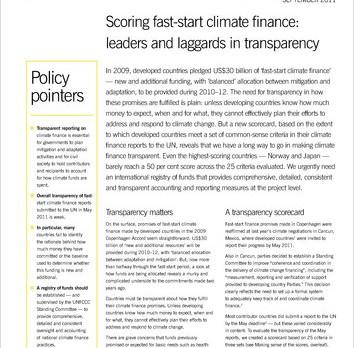 IIED Reportes cortos: Una tarjeta de puntuación del financiamiento climático: los líderes y los reza