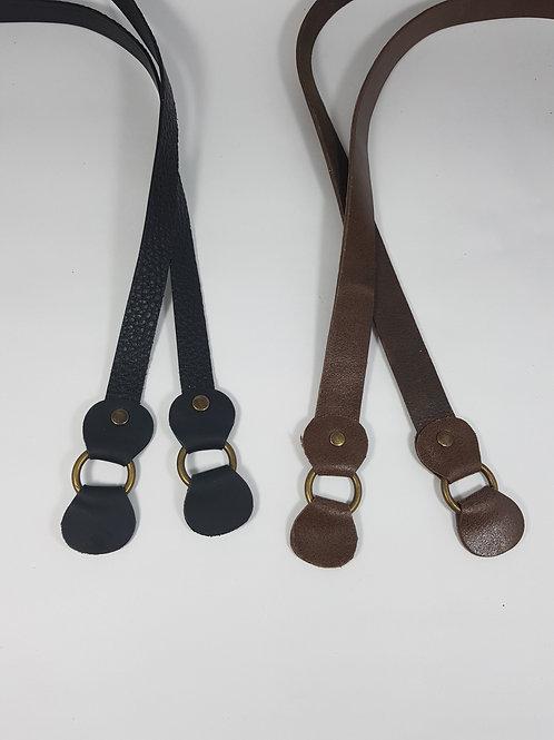 Par de alça em couro legítimo 70cm x 1,5cm