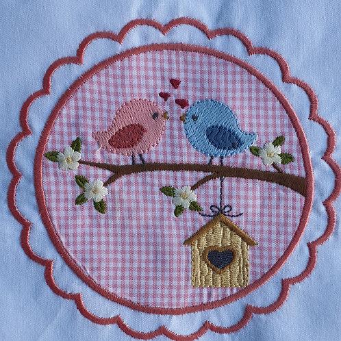 Grirlanda Pássaros - Bordado e Apliquê