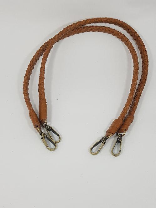Par alça em couro trançada, com mosquetão de 75 cm