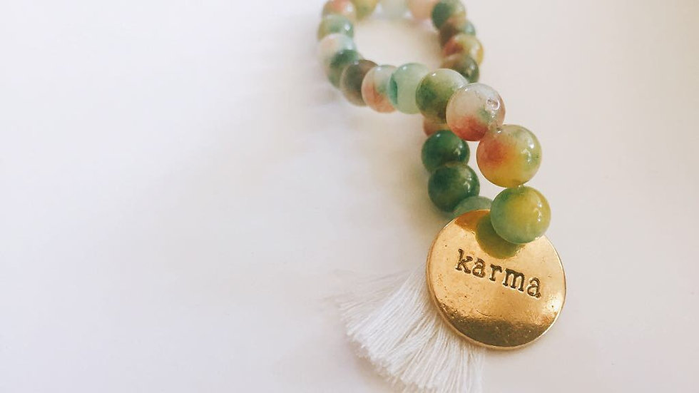 Green Indian Agate and Gold Karma Tag with White Tassel