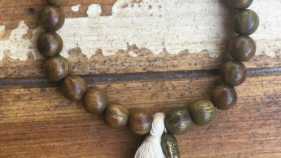 Wood Mala with Copper Buddha Charm & Cream Tassel Bracelet
