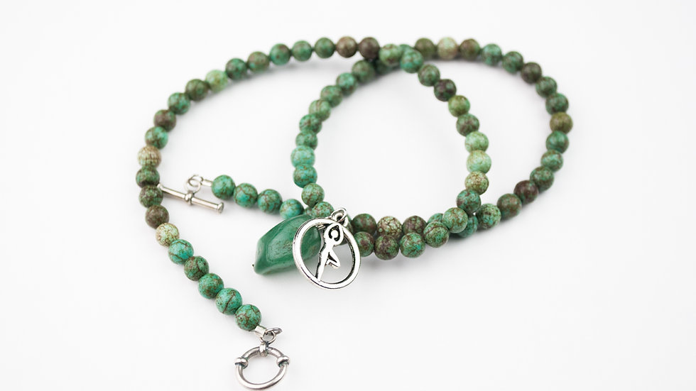 """African Turquoise with Silver """"Tree Pose"""""""
