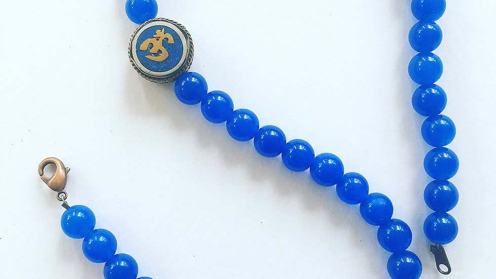 Blue Chalcedony with Antique Om Sign Pendant