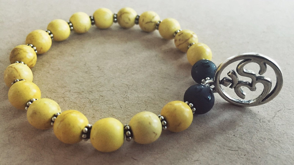 Yellow Turquoise Stone and Silver Beads with Silver Om Charm