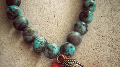 Natural African Turquoise & Little Buddha with Tassel