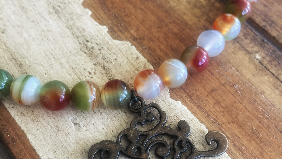 Indian Agate with Bronze Gold Tree Necklace