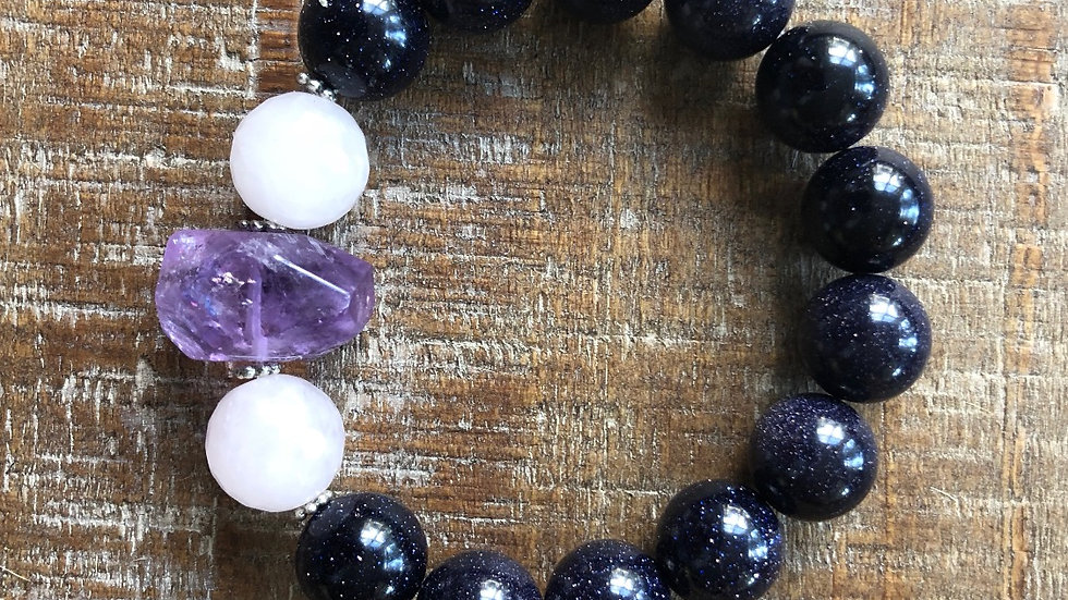 Blue Sandstone with Rose Quartz and Amethyst