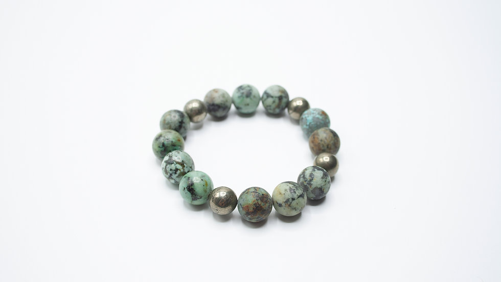 African Turquoise with Pyrite