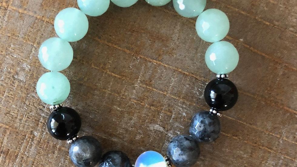 Jade with Onxy, Labradorite and Moonstone