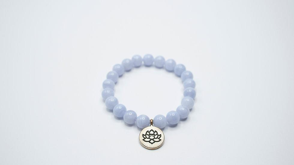 Chalcedony with Lotus Charm