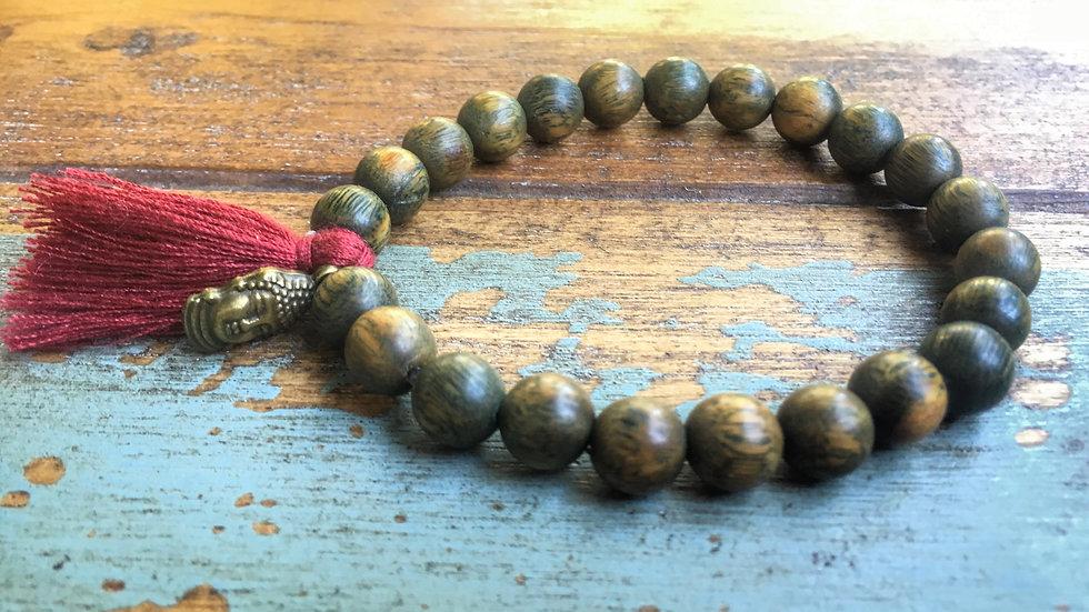 Wood Mala with Copper Buddha Charm & Burgundy Tassel Bracelet