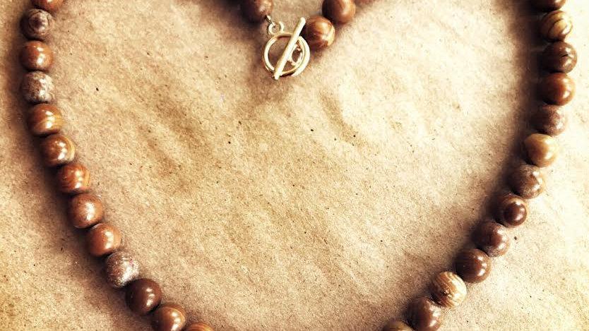 Wood Stone Beads with Gold Karma Pendant & Cream Tassel