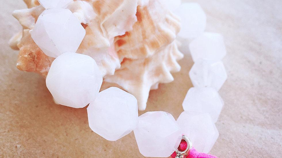 Rose Quartz Crystal Beads & Silver Buddha Charm & Pink Tassel