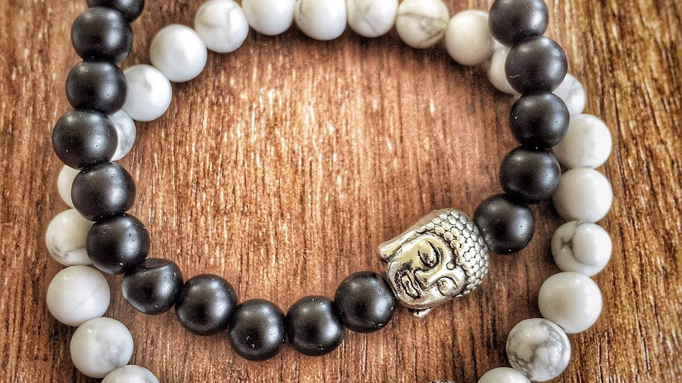Howlite and Agate Onyx with Silver Buddha Charms