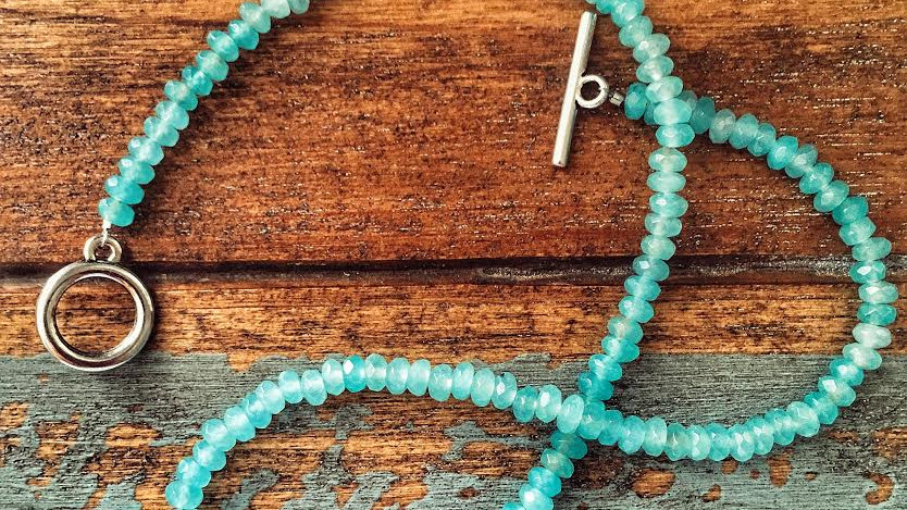 Blue Chalcedony Stone with Silver Om Sign Pendant Necklace
