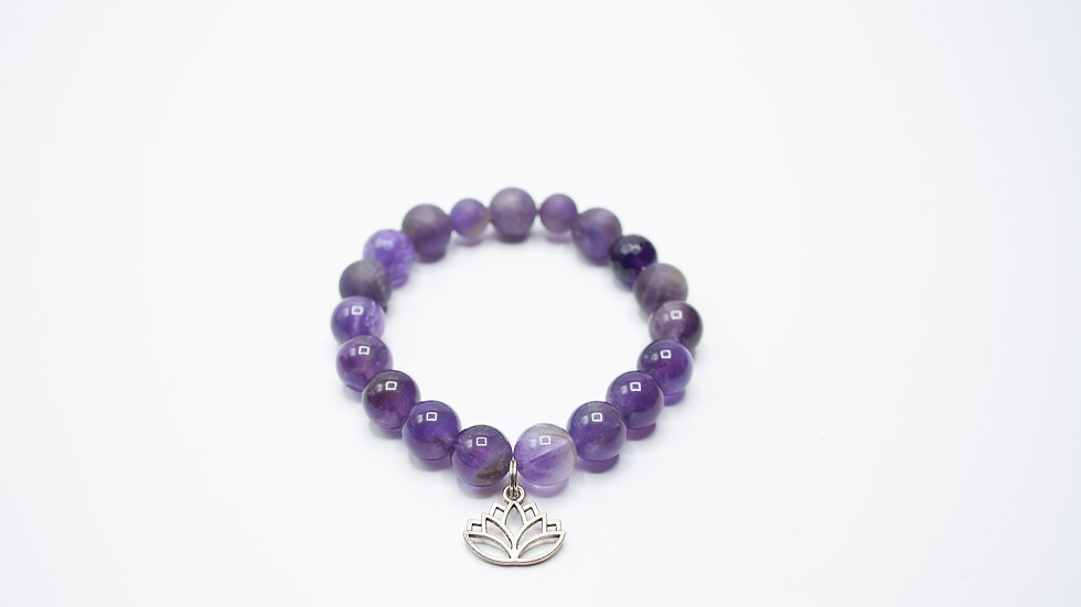 Amethyst with Lotus Charm