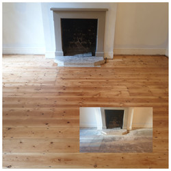 Before and after beautiful pine flooring