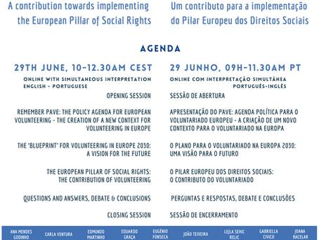 Evento Europeu Conjunto: O Plano para o Voluntariado Europeu até 2030 | 29 junho 9h00