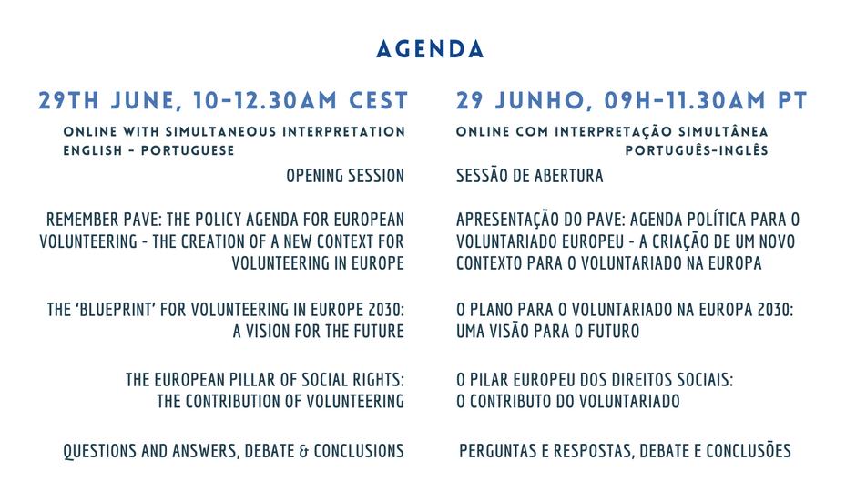 Evento Europeu Conjunto: O Plano para o Voluntariado Europeu até 2030   29 junho 9h00