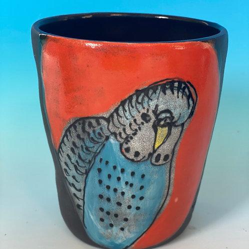Budgies on a mug by Kara Pryor (without handle)