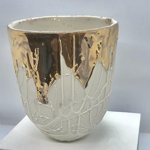 Lumina Porcelain vase with gold lustre by Dana Lundmark