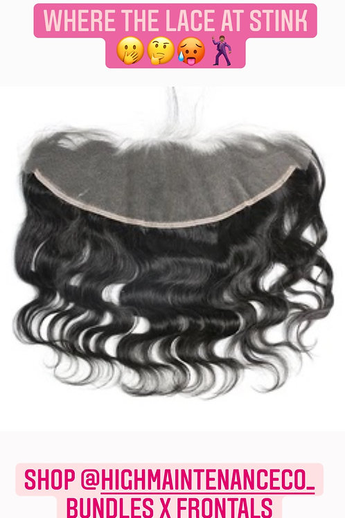 TRANSPARENT RAW INDIAN BODYWAVE LACE FRONTAL ,