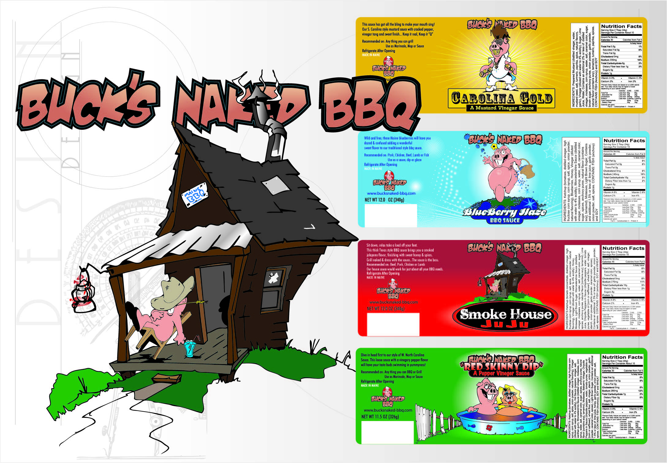Buck's Naked BBQ Labels