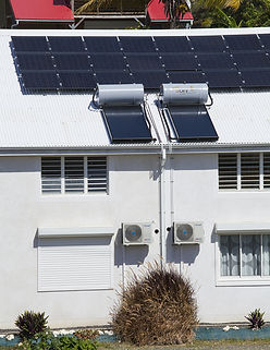 The solar panel also provide hot water at La canne à Sucre Guadeloup Ilands.