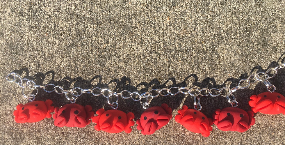 Stay Crabby charm Bracelet 8 inches