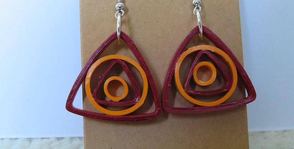 Yellow & Maroon Earrings