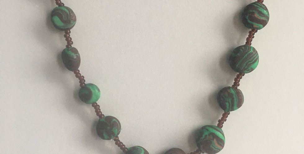 Minty Swirl Pullover Necklace 51""