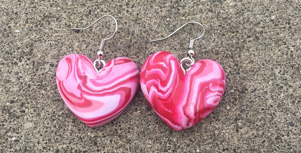 Taffy Heart Earrings Polymer Clay