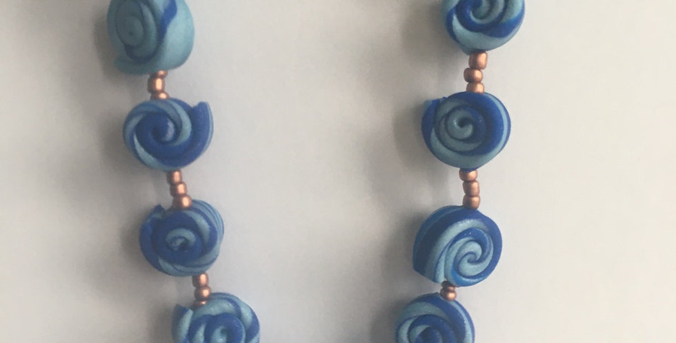 Blue Swirl Pullover Necklace 28""