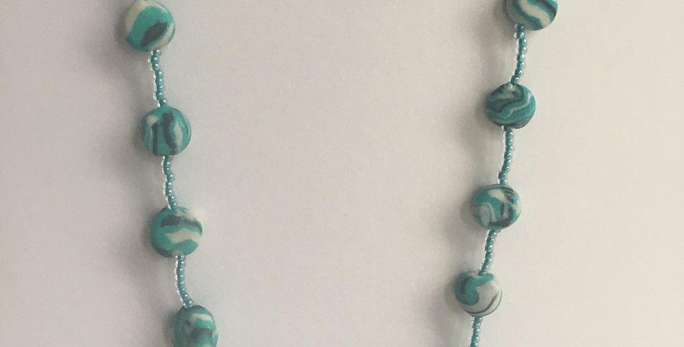 """Aqua Swirl Pullover Necklace 42"""""""