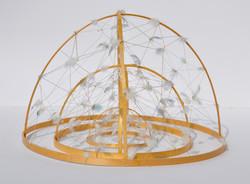 Cupole, legno, refe, colla, piume, dimensioni variabili, 2014
