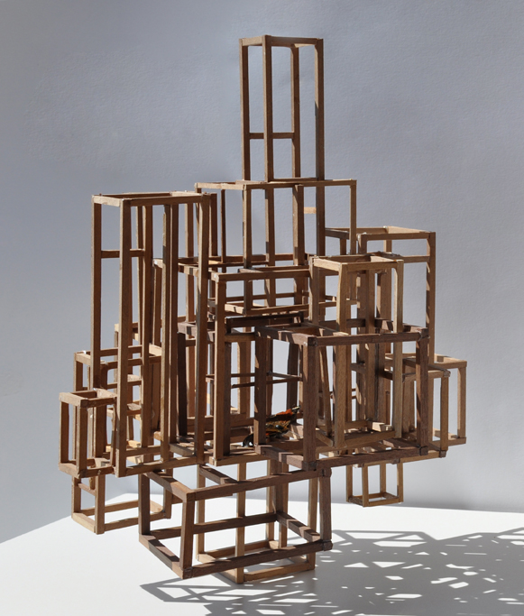 Giulia Berra, Senza titolo (Psyche), legno, colla, farfalla, circa 24,5x24,5x33,5 cm, 2012
