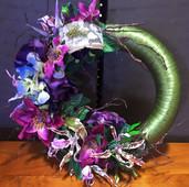 Green Purple Door Wreath