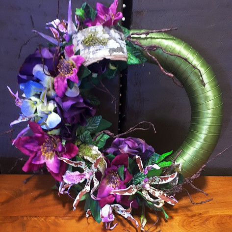 Green Purple Door Wreath