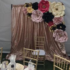Blush sequin & Floral Backdrop
