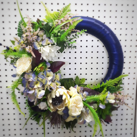 Navy Blue Door Wreath