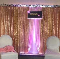 Gold sequin - Blush satin panel Backdrop